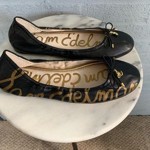 Sam Edelman black and gold ballerina flats sz 7.5